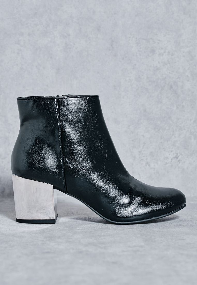 Silver Heel Ankle Boots