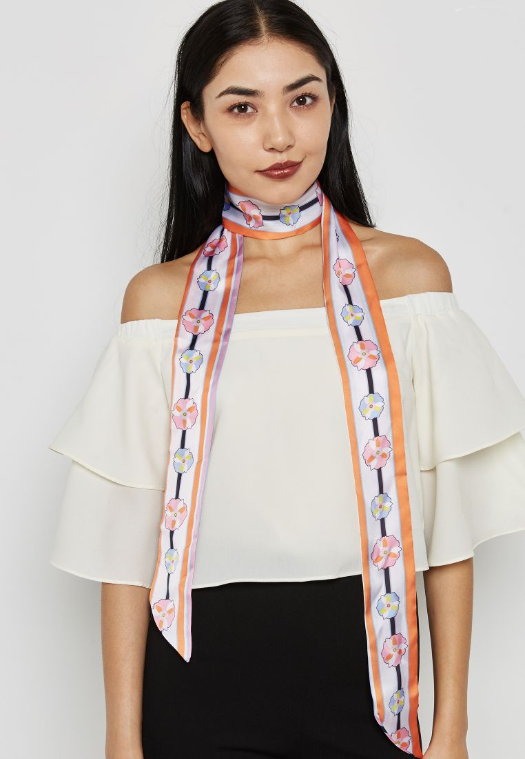 Floral And Stripe Skinny Scarf