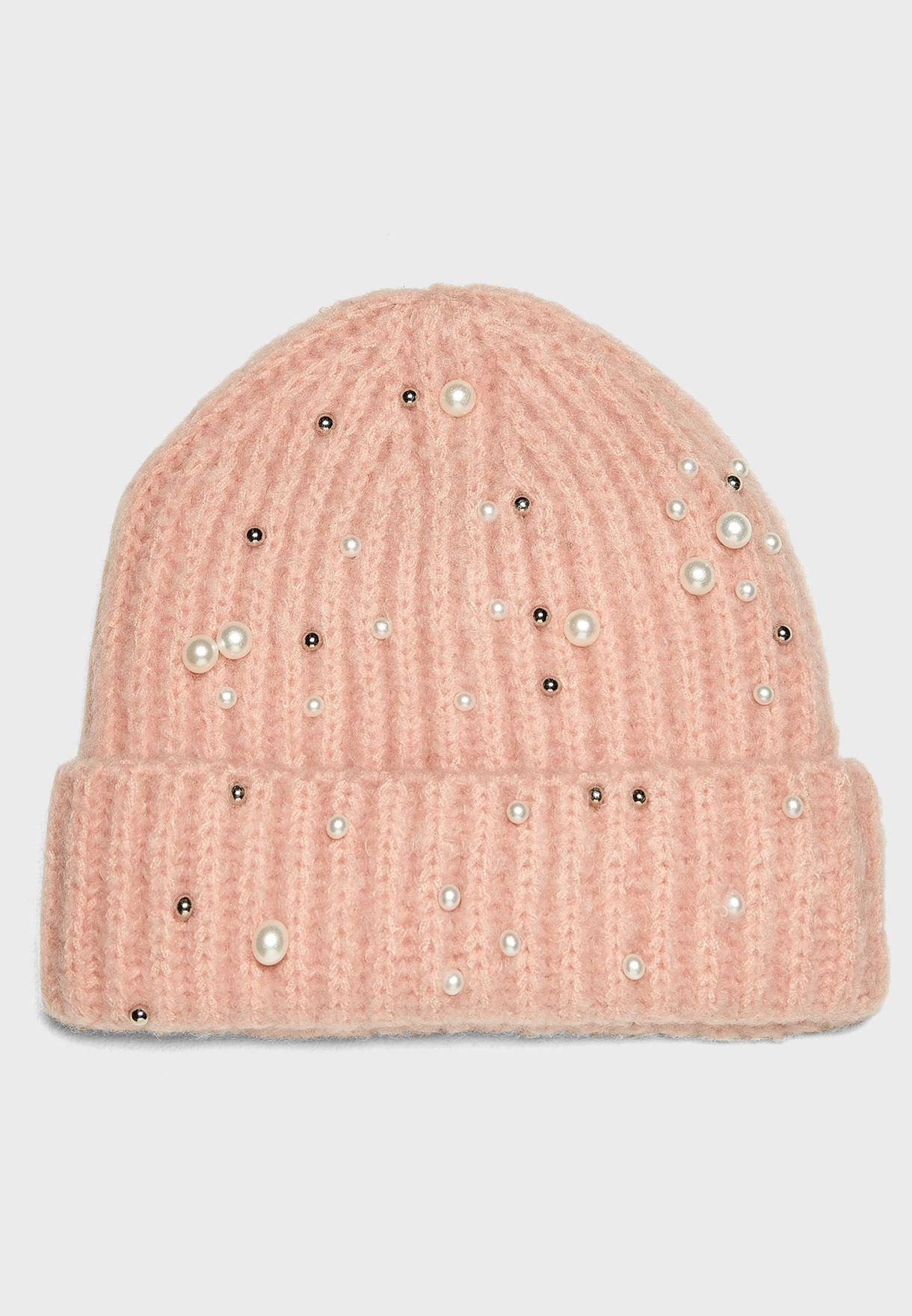 6abdb75b Shop Pieces pink Felia Pearl Hood Beanie 17090795 for Women in Qatar ,  PI573AC53WJQ ...