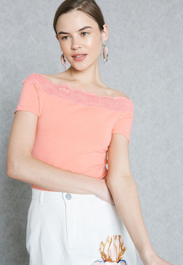 Lace Trim Bardot Top