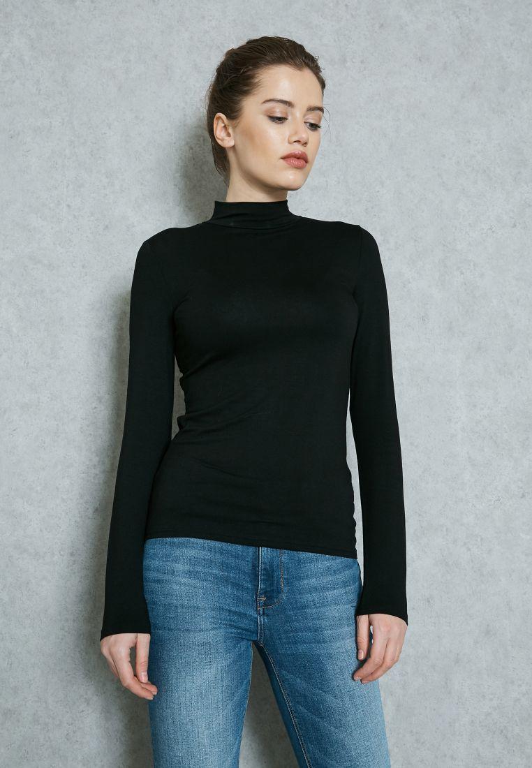 Turtle Neck Long Sleeve T-Shirt