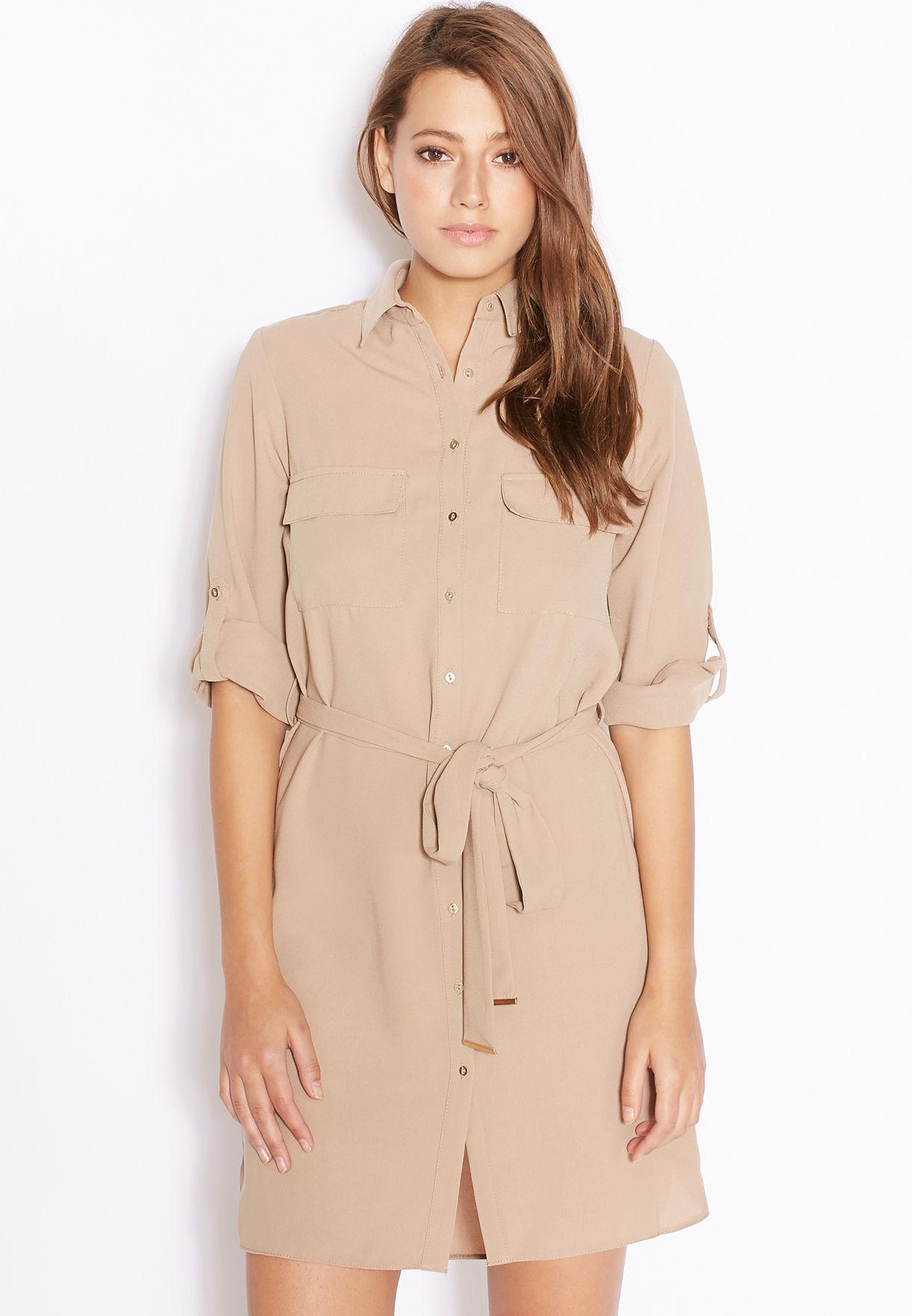 de15a11d28e Shop Dorothy Perkins beige Belted Shirt Dress 07417354 for Women in ...