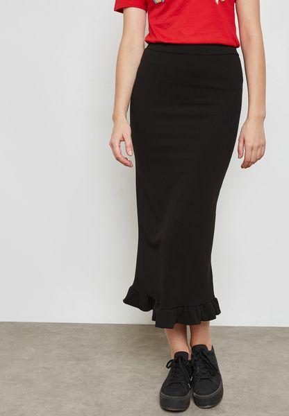 Ruffle Hem Maxi Skirt