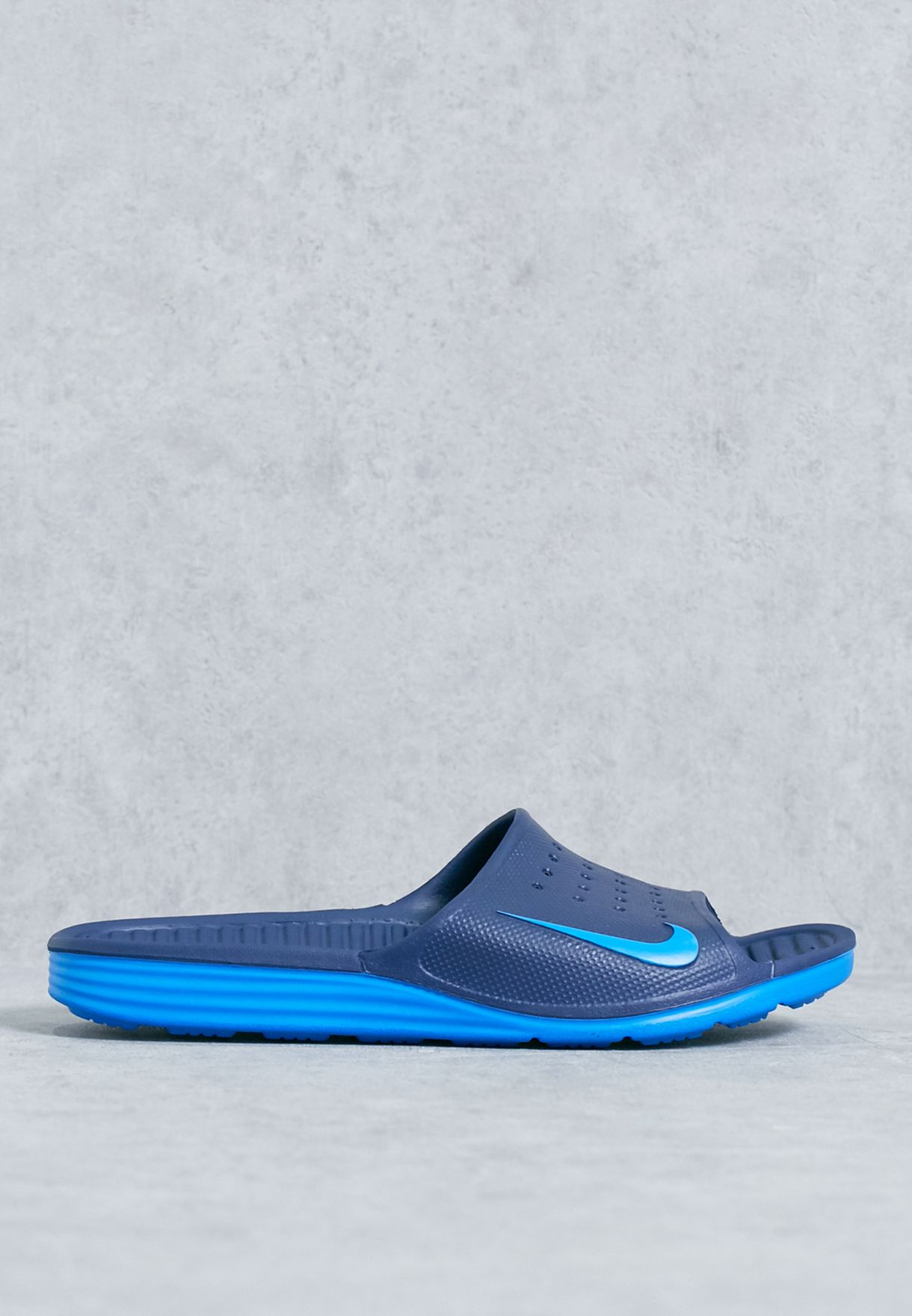 4a21767e215 Shop Nike navy Solarsoft Slide 386163-416 for Men in Qatar - NI727SH99ZHG