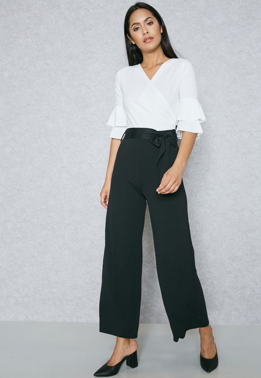 Wrap Front Tiered Sleeve Jumpsuit