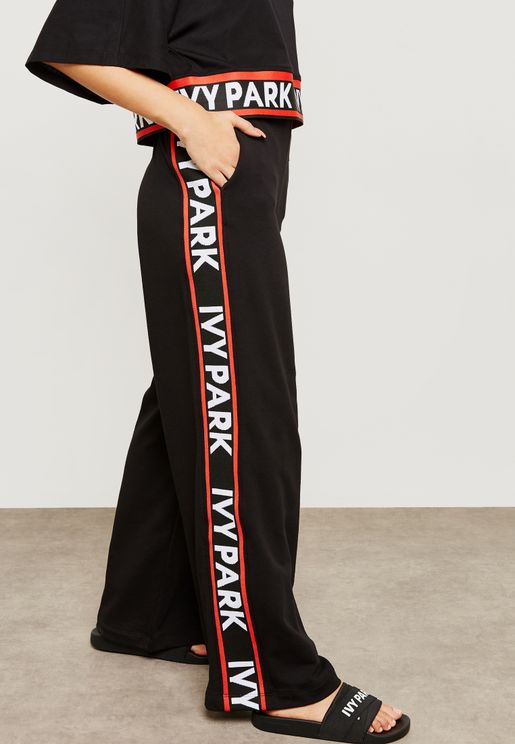 Wide Leg Logo Band Joggers