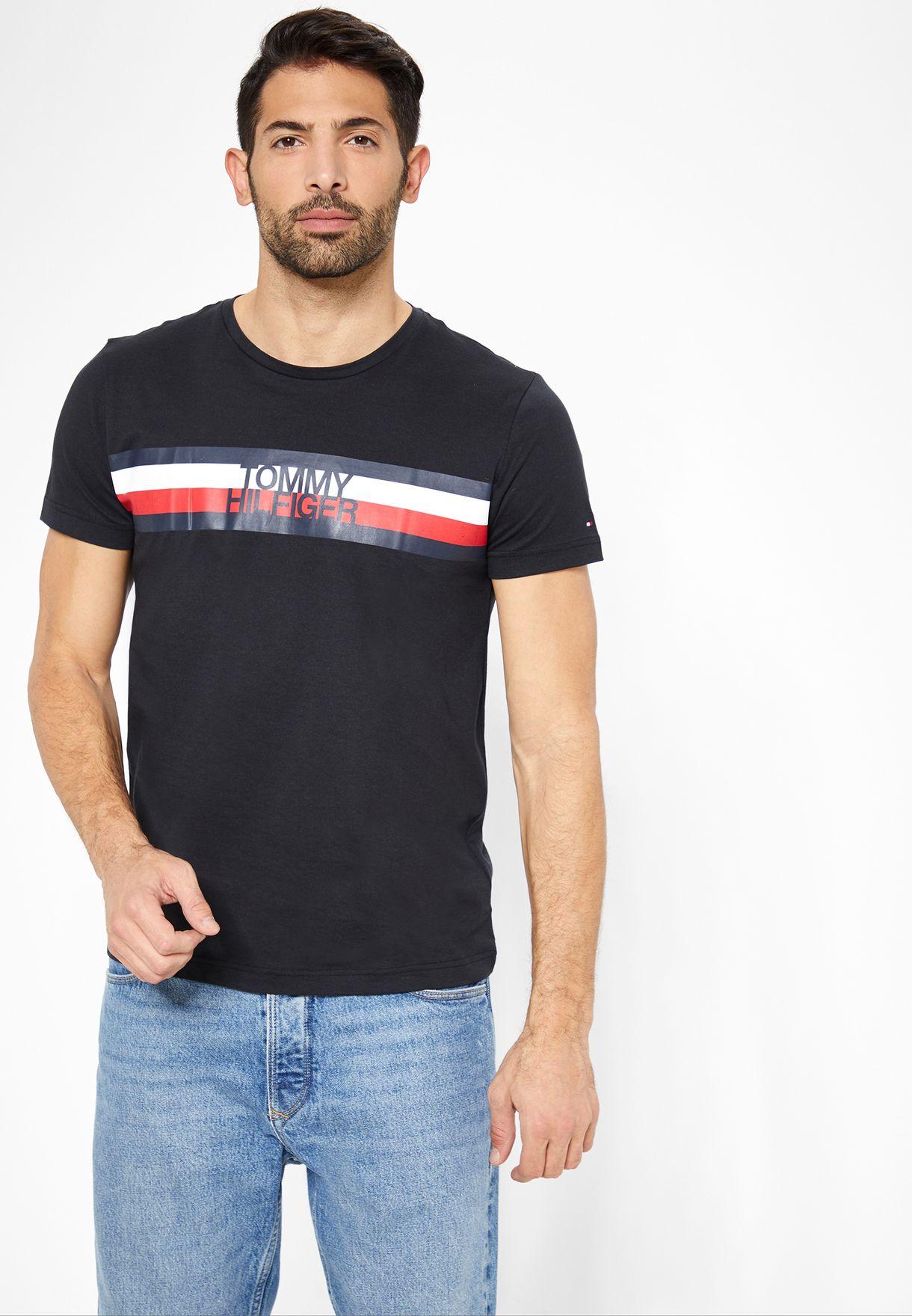 955a4a53 Shop Tommy Hilfiger black Crew Neck Logo Crew Neck T-Shirt ...