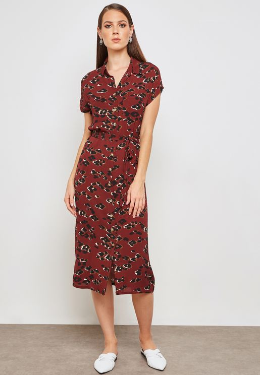 Printed Tie Waist Shirt Dress