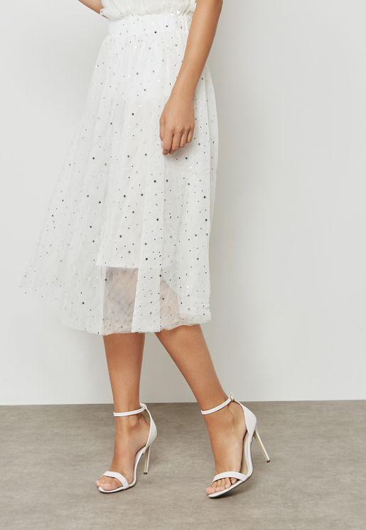 Printed Tulle Mesh Overlay Skirt