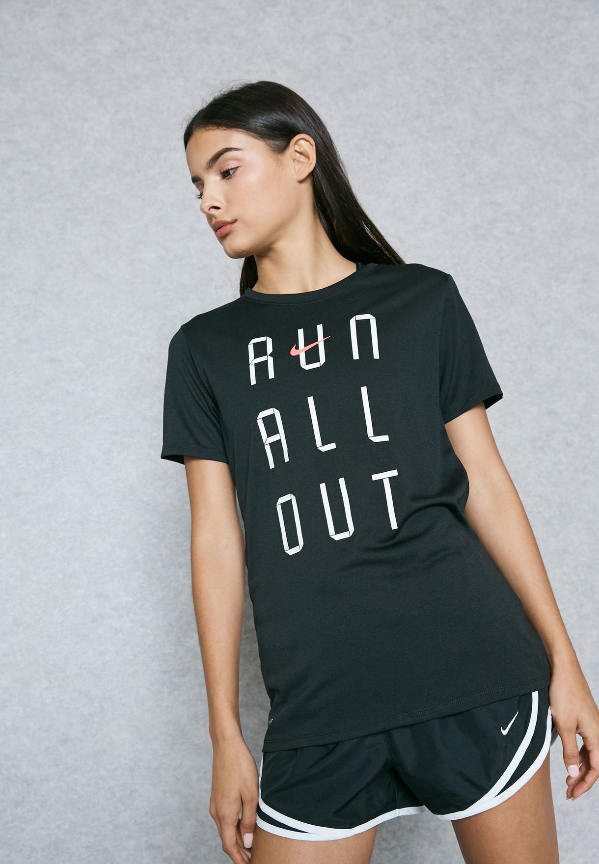 bf07475f Shop Nike black Dri-FIT Run All Out T-Shirt 831915-010 for Women in ...