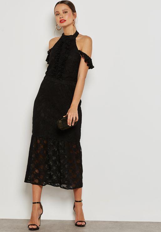 Lace Bodycon Frill Dress