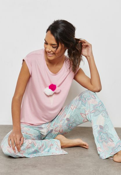Printed T-Shirt Pyjama Set