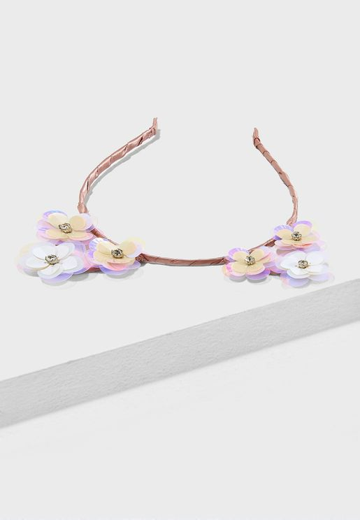 Sequin Flower Cat Ears