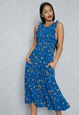 Frill Sleeve Printed Dress