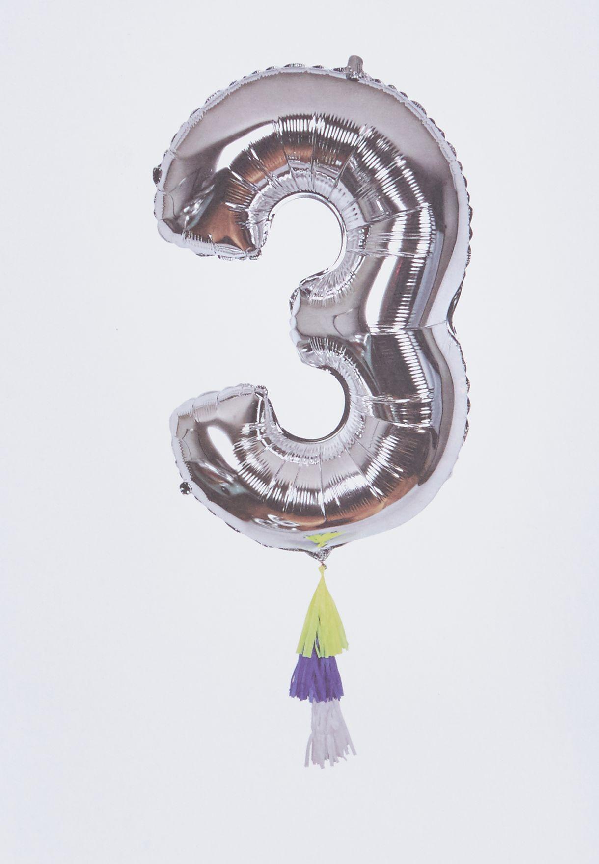 """بالون لامع يحمل رقم """"3"""""""