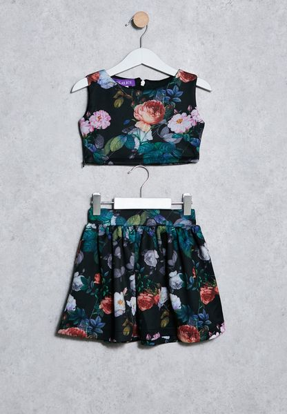 Kids Floral Skirts&Top
