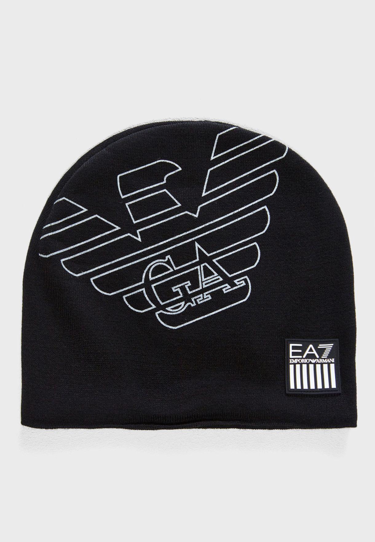 4b701b6d236fa Shop Ea7 Emporio Armani black Logo Beanie 8A302-275803-00020 for Men ...
