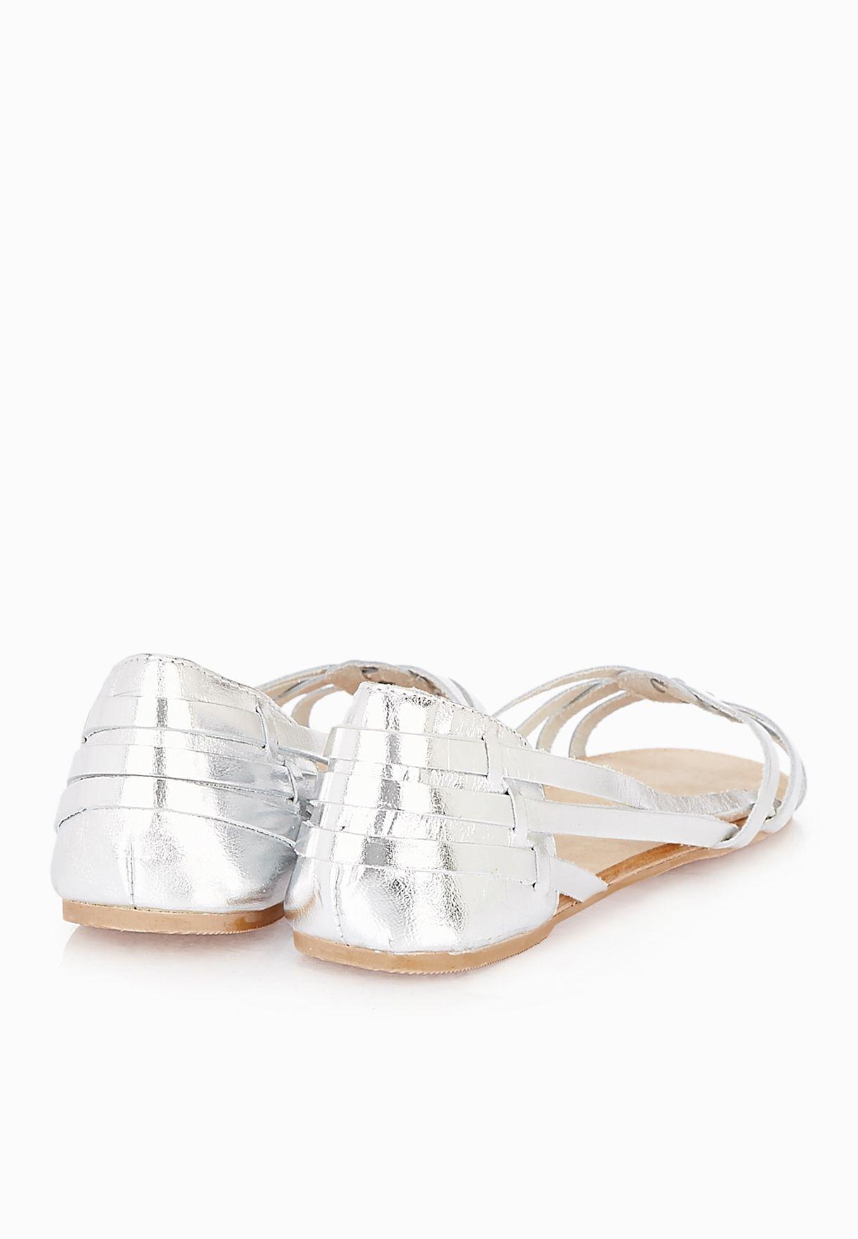 0d3320bec66d Shop Miss Selfridge silver Evie Huarache Ballerinas for Women in ...