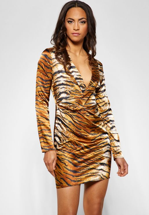 Tiger Print Long Sleeve Mini Dress