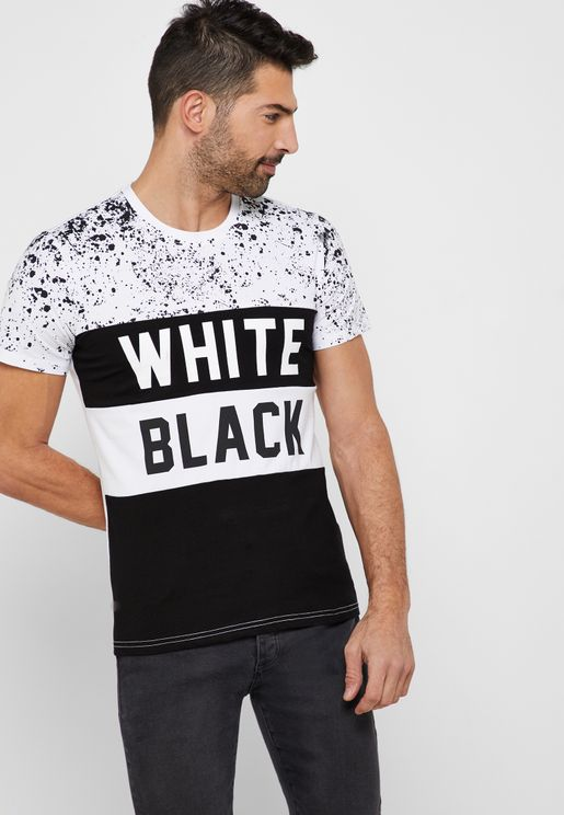 ed8dfa01f White Black Print Crew Neck T-Shirt