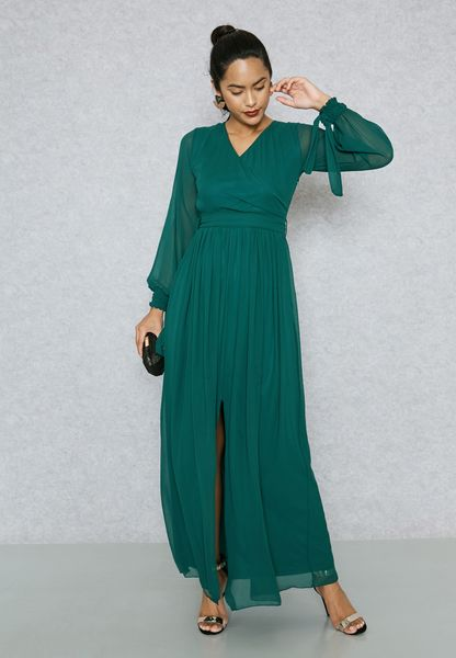 Wrap Front Tie Front Slit Dress
