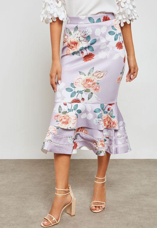 Floral Pephem Skirt