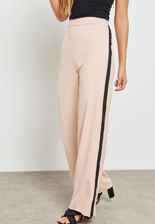 Side Striped Wide Leg Pants