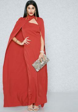فستان بكتف واحد مع كيب