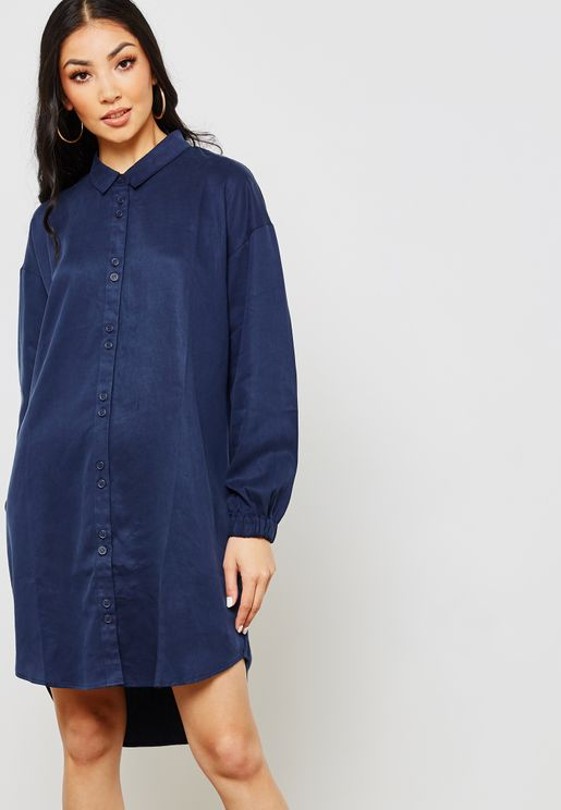 Elasticated Cuff Shirt Dress