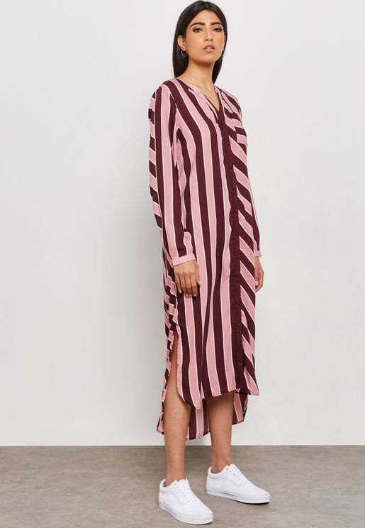High Low Striped Shirt Dress