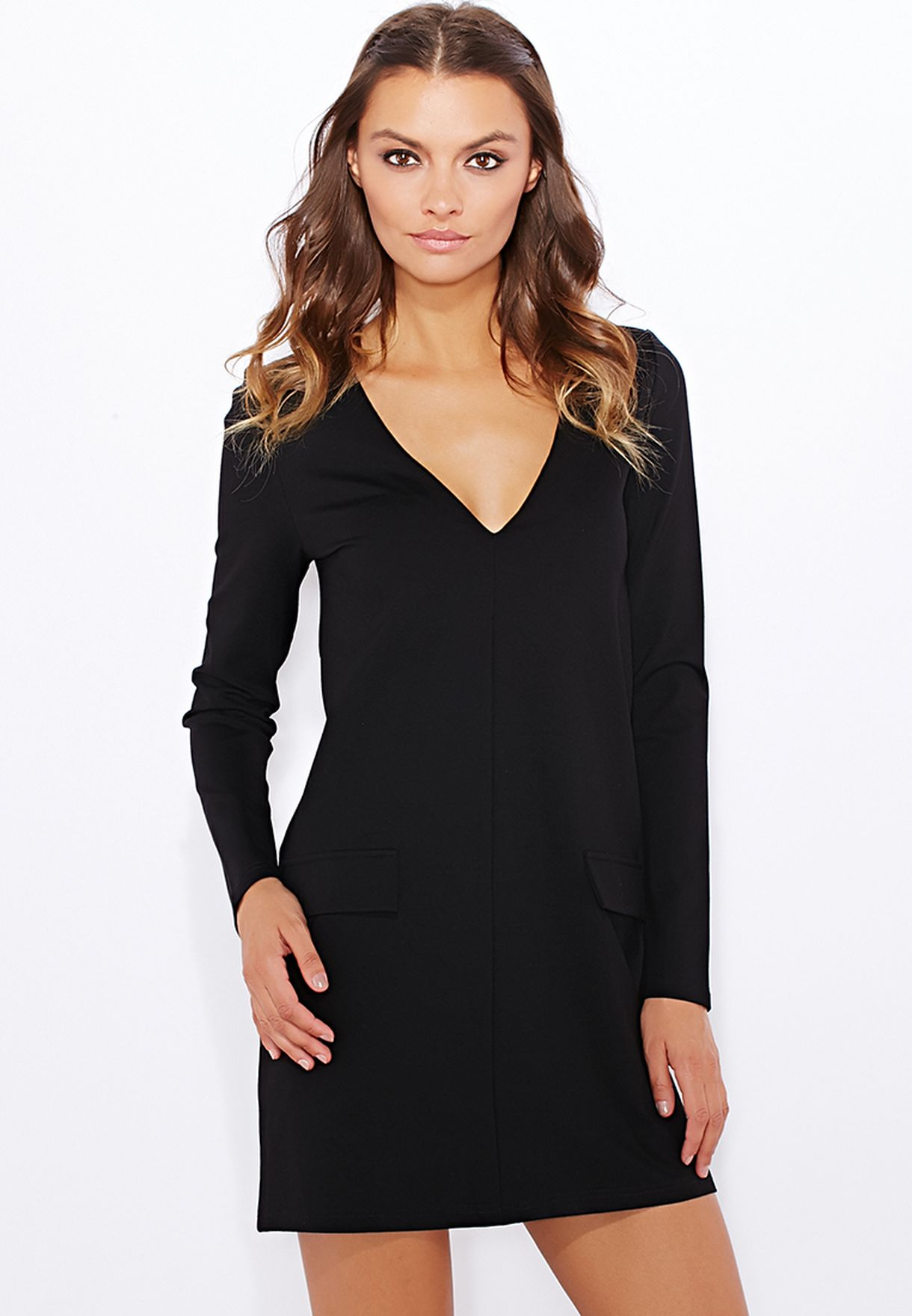 Shop Missguided black Plunge Neck Dress for Women in Kuwait - MI669AT99HMA 8cf548e366