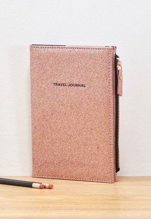 Glitter Travel Zip Journal