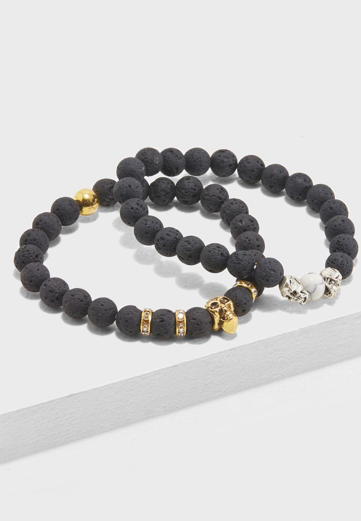 2 Pack Skull Detail Bracelet
