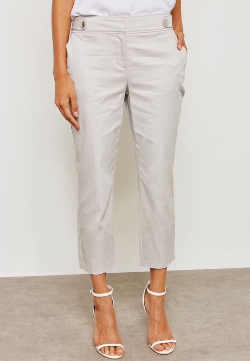 Side Button Ankle Grazer Pants