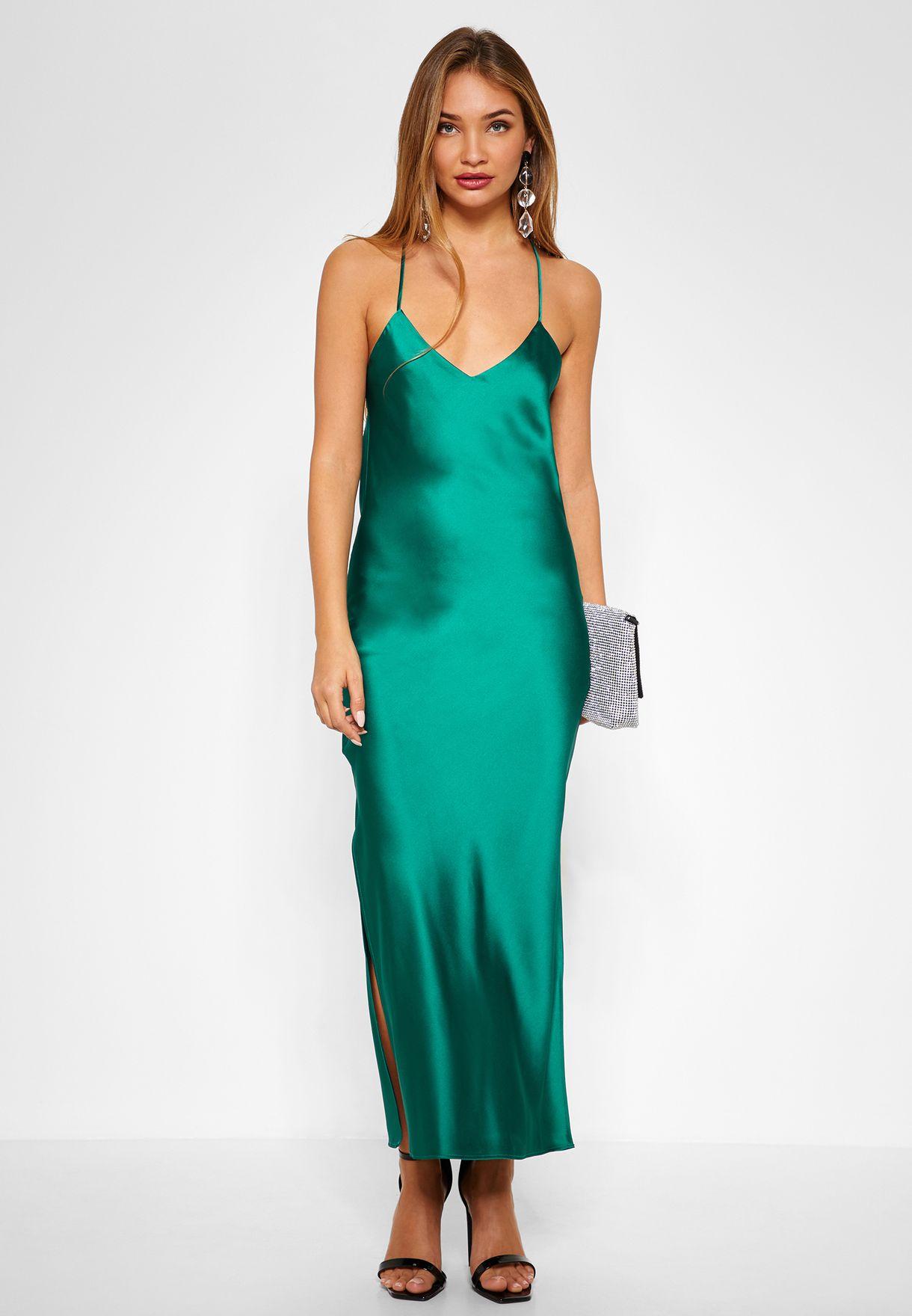 43adc619955 Shop Topshop green Satin Cami Slip Dress 10W02QHGR for Women in UAE ...