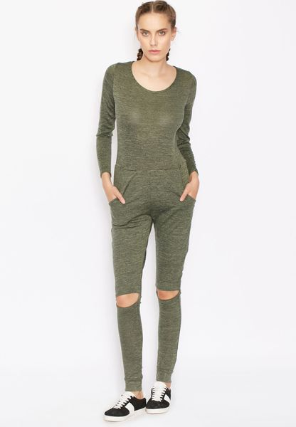 best sneakers a15a4 b144a Shop Ginger green Knee Slit Jumpsuit KNEE SLIT WITH POCKET JSUIT for Women  in UAE chic