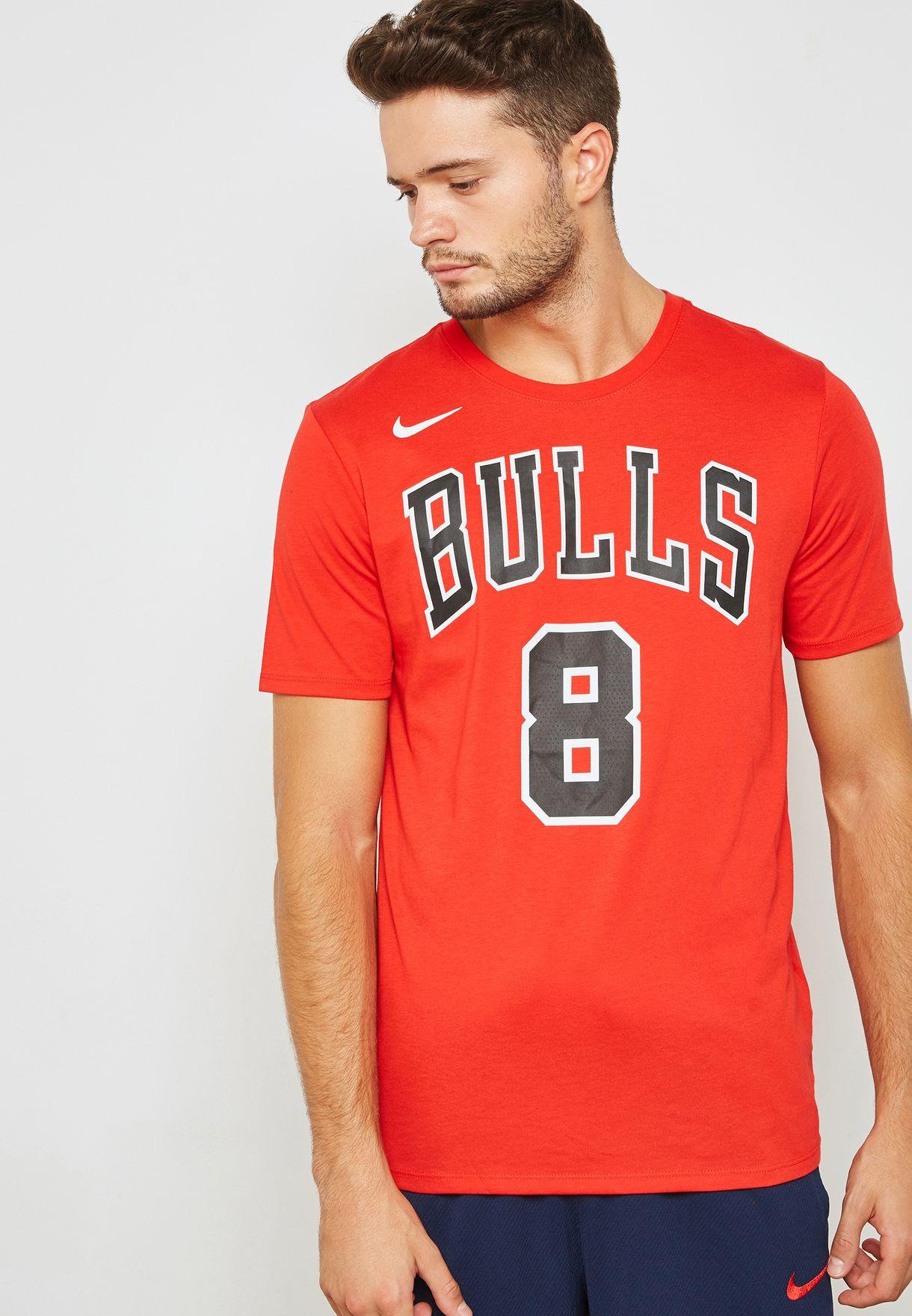 21d5d6f8732 Shop Nike red Chicago Bulls Zach Lavine T-Shirt 870764-666 for Men ...