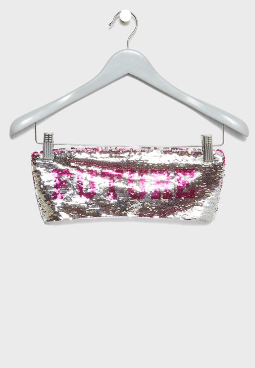 Two Way Sequin Slogan Bandeau Bikini Top