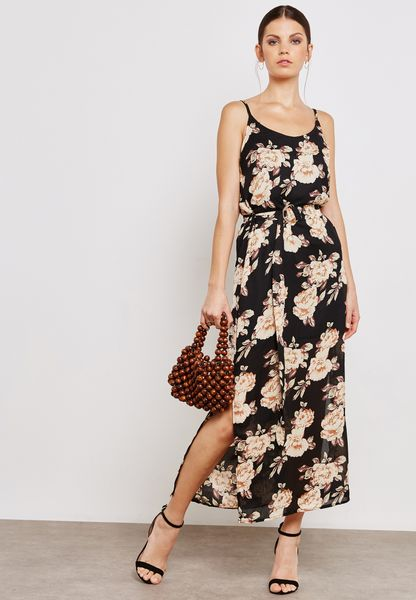 Floral Print D-Ring Belted Maxi Dress
