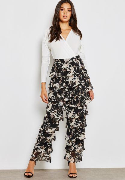 Printed Ruffled Pants