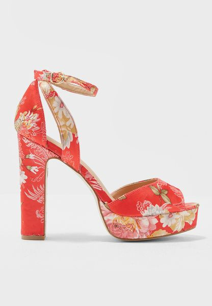 Brocade Ankle Strap Pumps