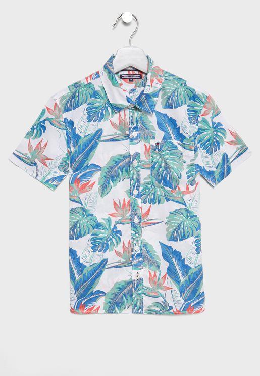 قميص بطبعات ورود