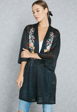Embroidered Front Cardigan