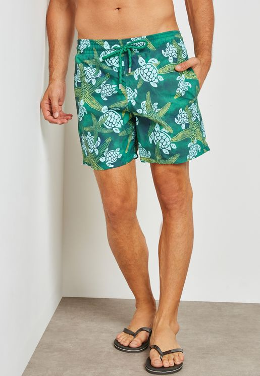 Starfish & Turtles Print Swim Shorts