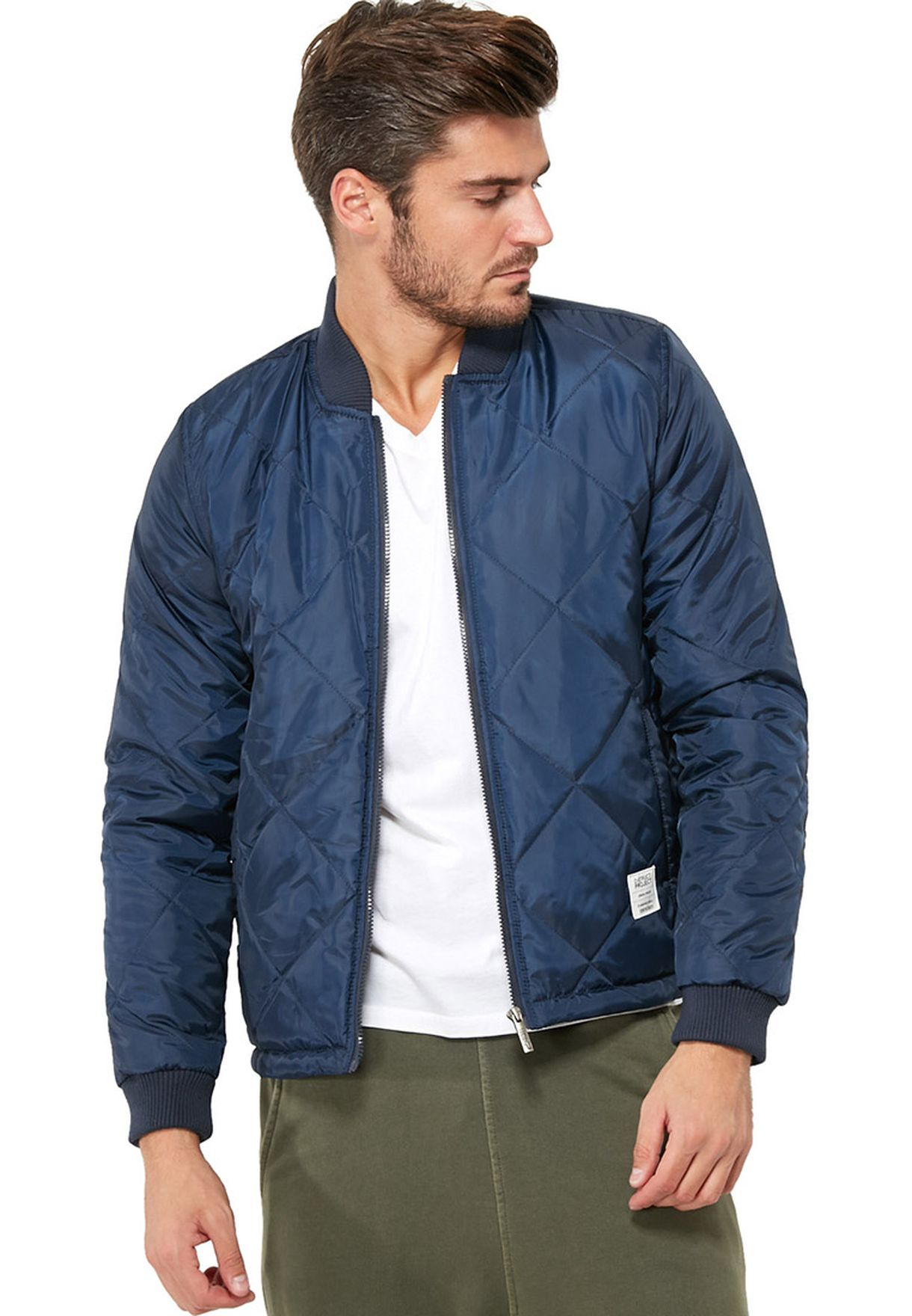 09ae27b3 Shop D Struct blue Quilted Bomber Jacket for Men in Kuwait ...