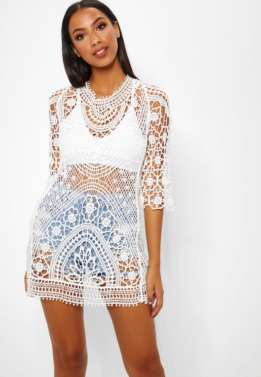 Crochet Low Back Beach Dress