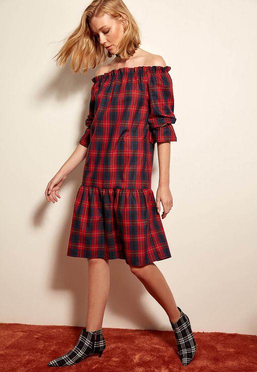Plaid Off Shoulder Dress