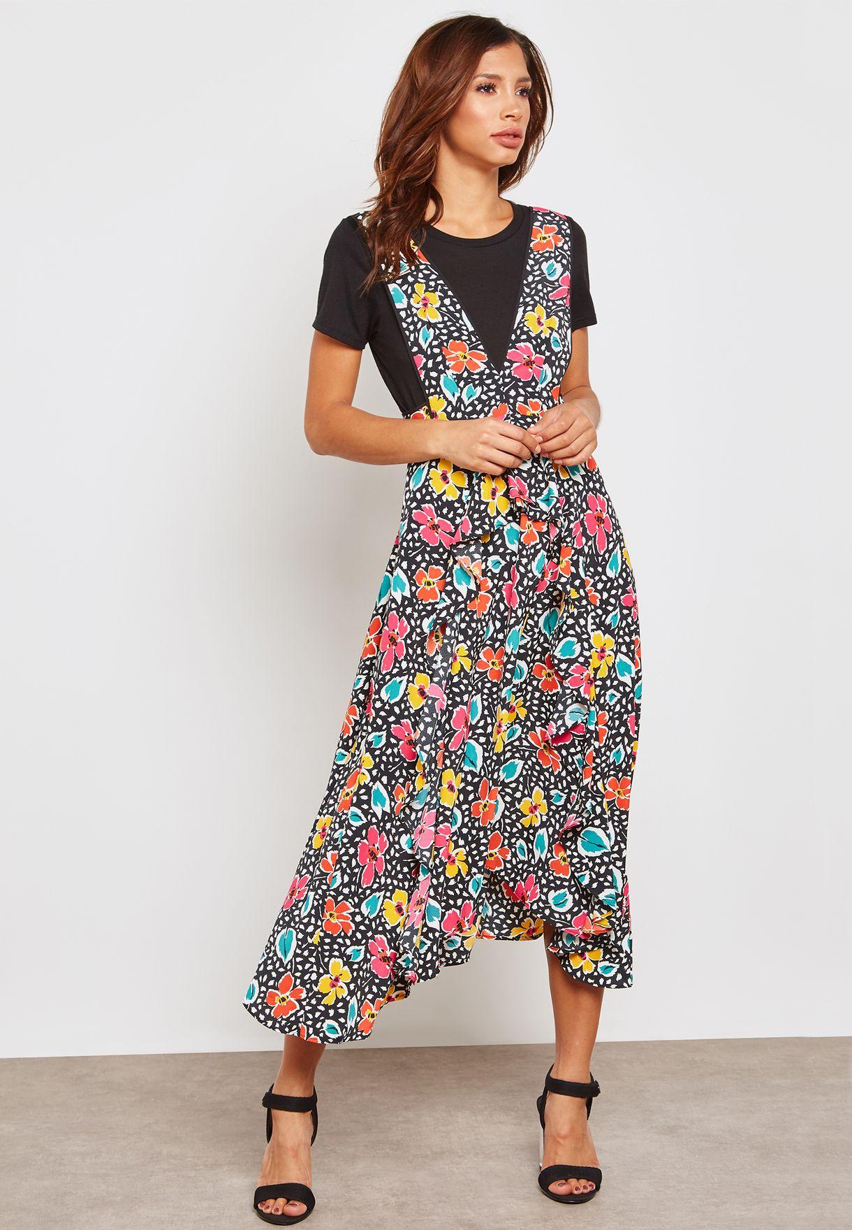 fadc43efb5a2 Shop Topshop prints Floral Print Pinafore Midi Dress 10S15PMUL for ...