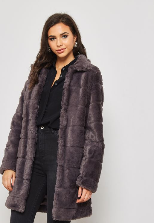 Longline Fur Detail Jacket