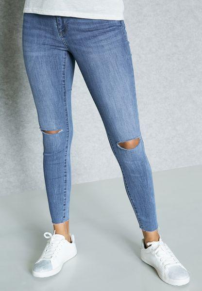 Ankle Slit Skinny Jeans